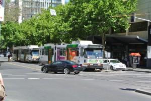 La façon de se déplacer à Melbourne, c'est en tramway!